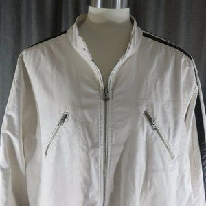 Wilsons Faux Leather White Cafe Racer Jacket 3XL